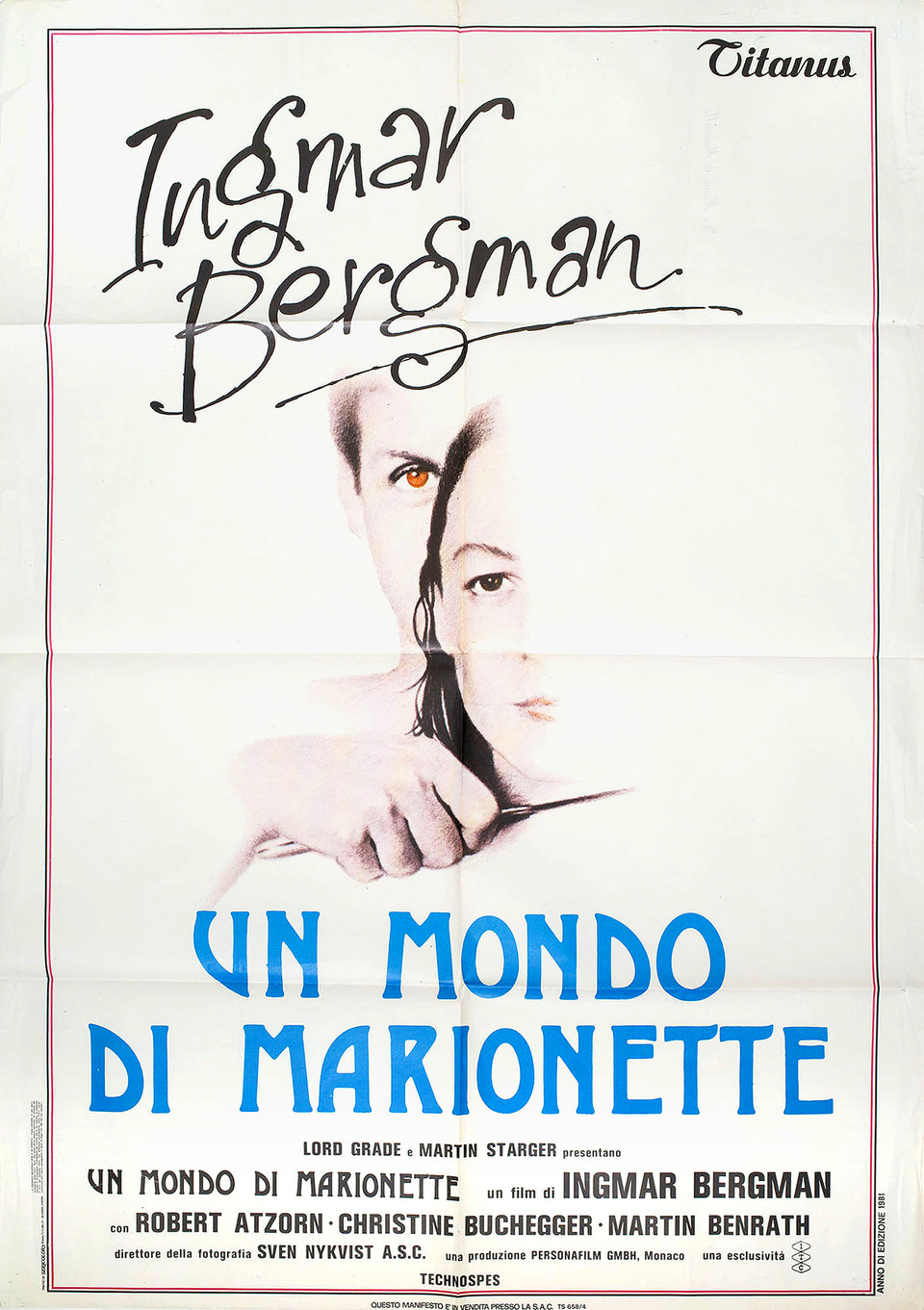 From the Life of the Marionettes 1980 Italian Due Fogli Poster