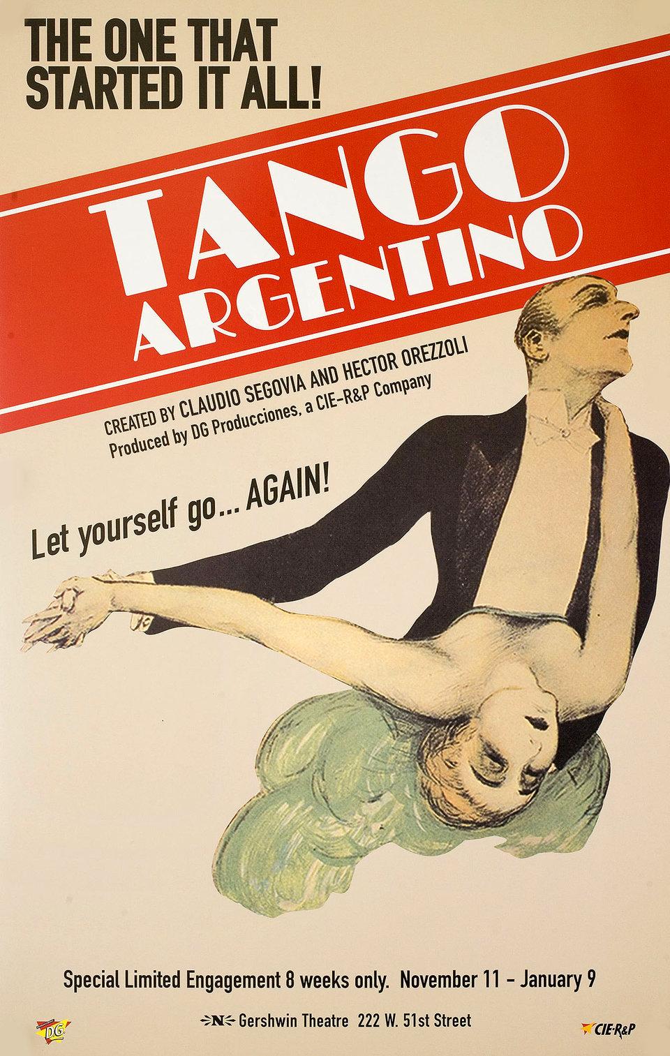 Tango Argentino 1999 U.S. Window Card Poster