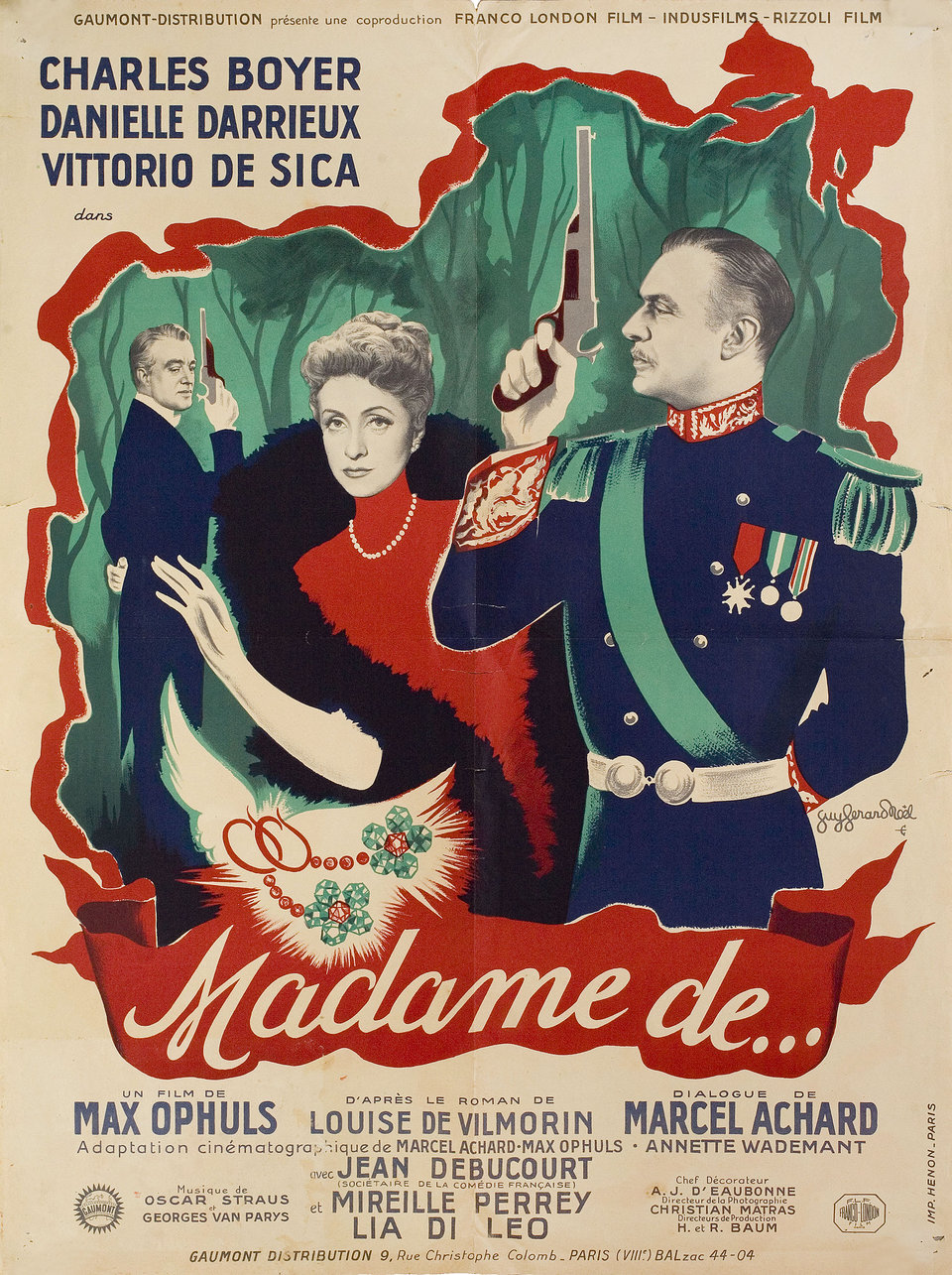 The Earrings of Madame de... 1953 French Moyenne Poster