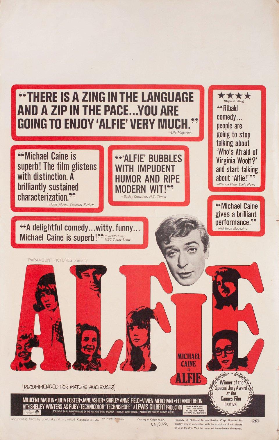 Alfie 1966 U.S. Window Card Poster