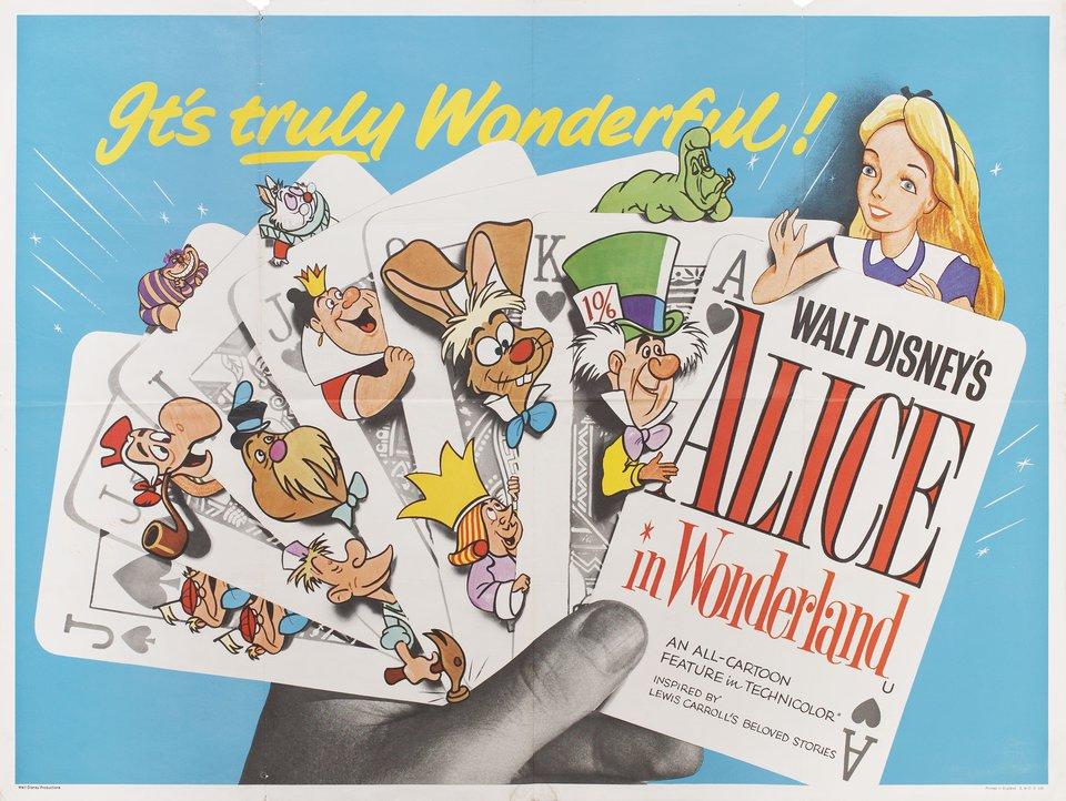 Alice in Wonderland R1958 British Quad Poster